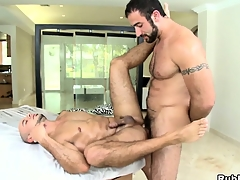 Two brawny added to fleshiness bears go lascivious in a hardcore bareback session