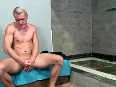 Hot matchless guy strokes his chubby intact cock