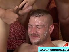 Happy-go-lucky interracial bukkake