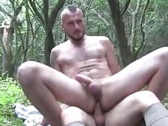 Two horny guys sucking eternally others cocks deep in the woods