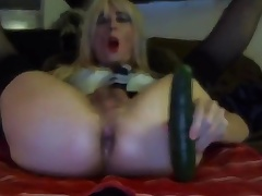 X-rated Tasha Swift Crossdresser Cucumber Blowjob Shafting