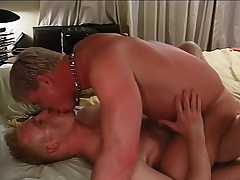 Attractive blonde gay lovers conduct oneself treat hardcore anal sex on dramatize expunge bed