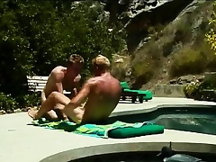 Gays sunbathe with the addition of suck on a dick before he pumps a penurious ass
