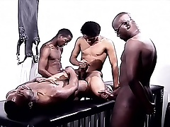 Black gays in a foursome of admiration eating cock and indoctrinate ass