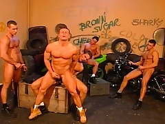 Stud bikers in an orgy of cheerful loving with blowjobs coupled with anal fucking