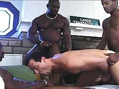 Handsome white brat has three hung dark studs pounding his anal hole